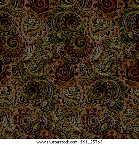 Decorative dark seamless background for textile ornament - stock photo