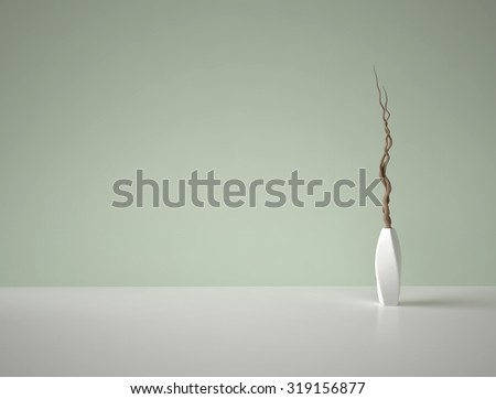 Decorative dry branches in white porcelain vase on green background - stock photo