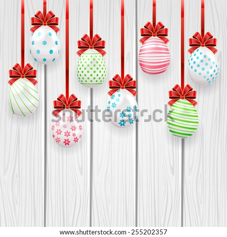 Decorative Easter eggs with red bow on wooden background, illustration. - stock photo