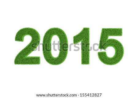 Decorative eco-friendly three-dimensional green grass numbers for the 2015 New Year and Christmas celebrations, seasonal greeting card, invitation or congratulations isolated on white - stock photo