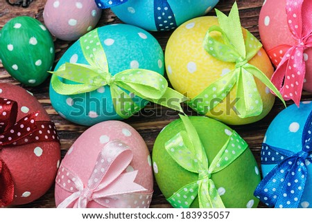 decorative eggs for Easter is on the table - stock photo