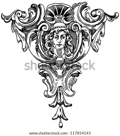 Decorative element of the facade of a historic building in Lviv (Ukraine) . Raster version - stock photo