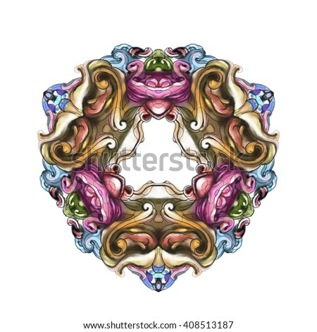 decorative elements in vintage style for decoration layout, framing, for advertising, illustration hands - stock photo