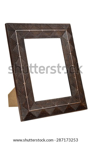 Decorative empty bronze picture frame isolated on white background with clipping path - stock photo