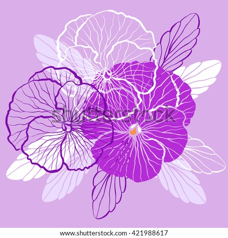 Decorative floral background with flowers of pansy - stock photo