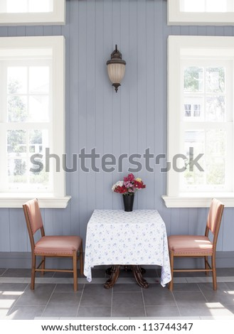 Decorative flower on table - stock photo