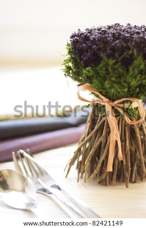 decorative flowers on a table - stock photo