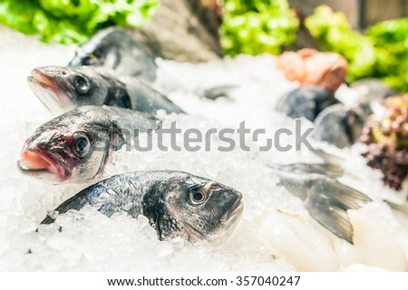 Decorative frozen raw sea fish on crushed ice bed in the fishmarket with vegetables decorations - stock photo
