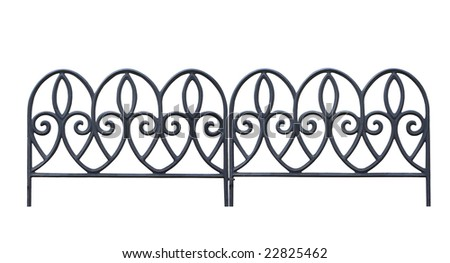 Decorative Garden Fence with clipping path - stock photo