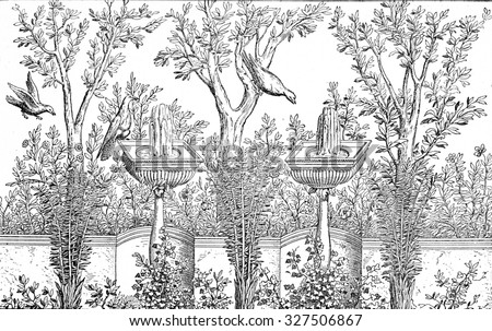 Decorative Garden, vintage engraved illustration. Private life of Ancient-Antique family-1881. - stock photo
