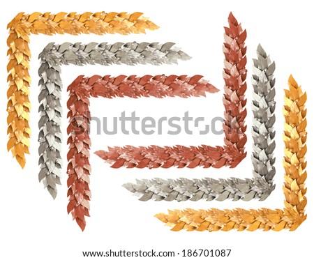 Decorative gold, silver and bronze corners - stock photo