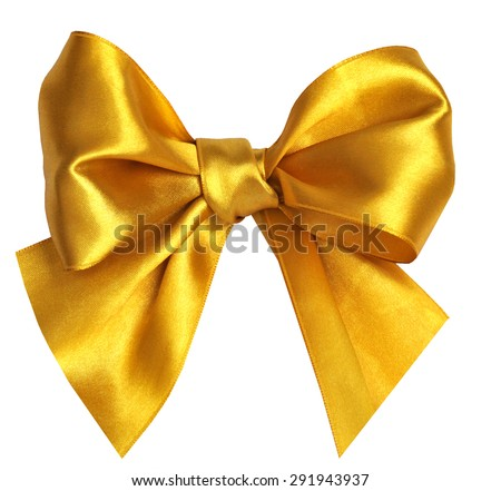 Decorative golden bow isolated on white.  - stock photo