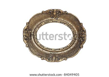 Decorative golden frame isolated on white - stock photo