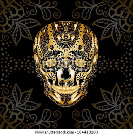 Decorative golden skull, patterned design, Day of The Dead, raster version - stock photo
