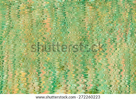 Decorative green marble paper design with zigzag lines of shades of green on blended yellow background in vintage style for books and documents - stock photo