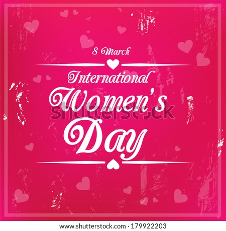 Decorative grungy card for international Women's Day on 8 March - stock photo