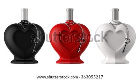 Decorative heart shaped bottles with metal thine chain and heart shaped key for saint valentine day isolated on white background  - stock photo