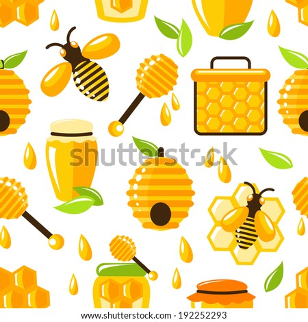 Decorative honey bee hive and cell food seamless pattern  illustration - stock photo