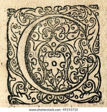 Decorative initial from XVIIth century book - stock photo