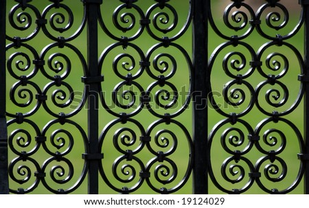 Decorative iron fence pattern (Cambridge, UK) - stock photo