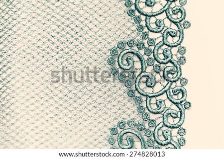 Decorative lace on insolated white background - macro photo - stock photo