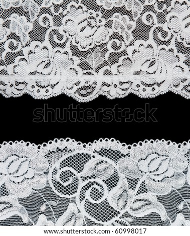 Decorative lace with pattern on black background. Picture is formed from several photographies - stock photo