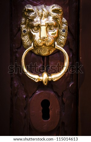 Decorative lion head knocker on a wooden door - stock photo