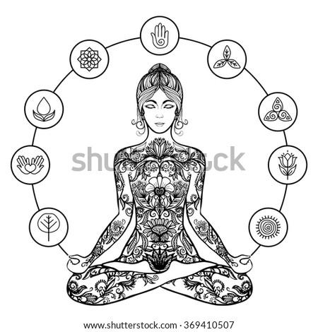 Decorative lotus yoga woman black icon - stock photo