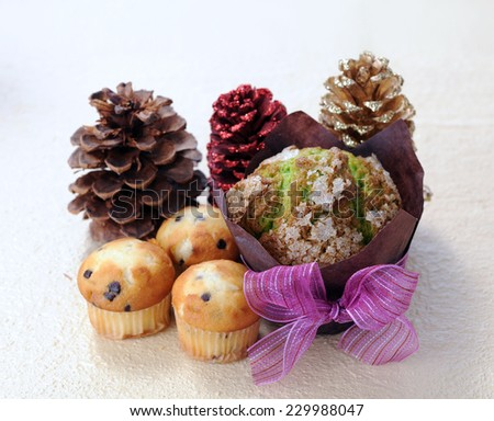 decorative muffin for holiday season in market place  - stock photo