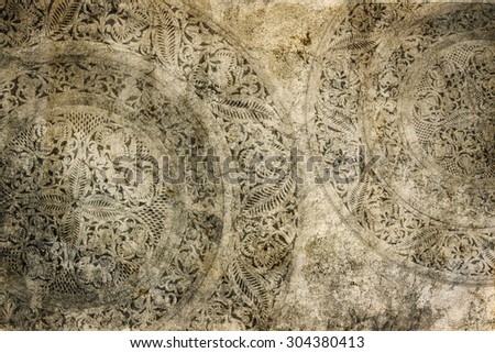 Decorative ornament on old paper - stock photo
