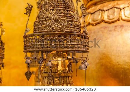 Decorative ornament Popa Taungkalat monastery atop an outcrop of Mount Popa volcano, Myanmar. - stock photo