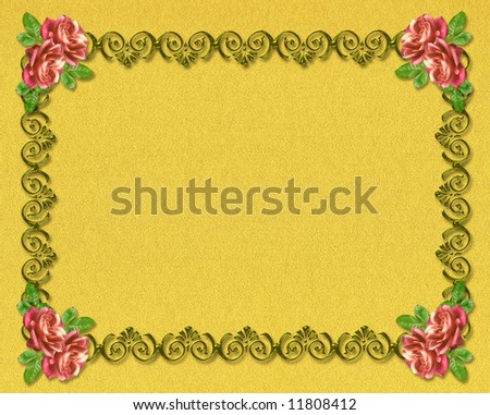 Decorative ornament with roses. An element of design for a congratulatory background. - stock photo