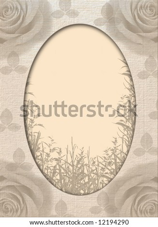 Decorative ornament with roses on an old paper. An element of design for a congratulatory background. Vintage framework - stock photo