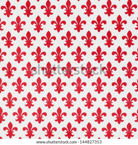 decorative  paper with pattern of red lily of Florence - stock photo