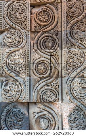 Decorative Pattern - Stone Carving In Qutub Minar, New Delhi, India - stock photo
