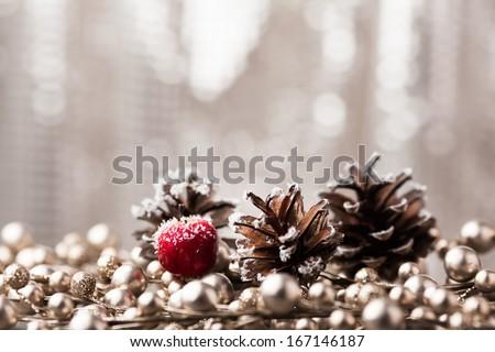 decorative pine cone Christmas - stock photo