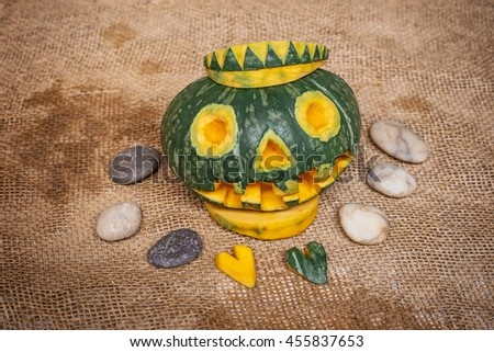 decorative pumpkins as decorations for Halloween - stock photo