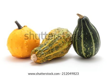 Decorative pumpkins on white background  - stock photo