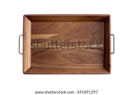 Decorative rectangular olive wood tray showing the light and dark pattern of the grain with brass handles, overhead view isolated on white - stock photo