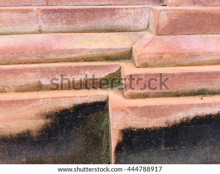 Decorative red brick on a wall texture - stock photo