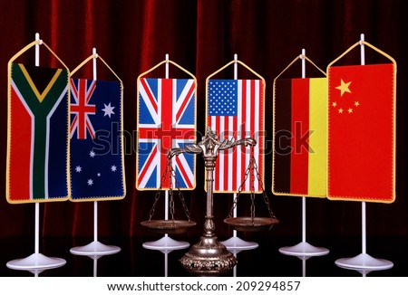 Decorative Scales of Justice with National flag of different countries, concept of International Law and Order - stock photo