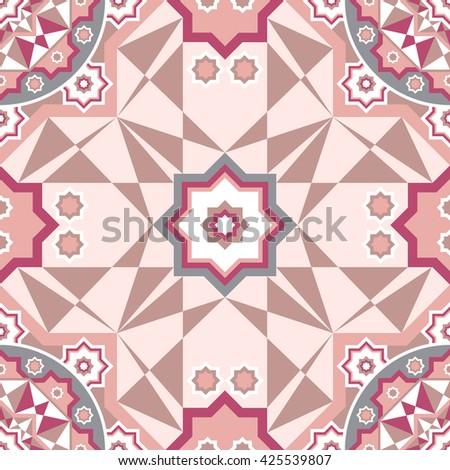 Decorative seamless pattern with round vintage frames arabic art - stock photo
