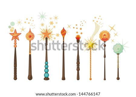 Decorative set with magic wands in various shapes - stock photo