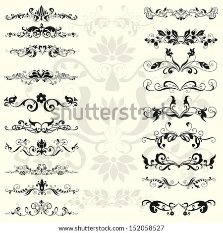 Decorative shape with floral elements  - stock photo