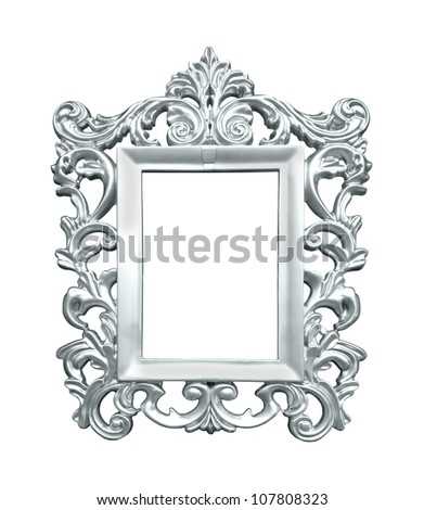 Decorative silver frame isolated with clipping path included - stock photo