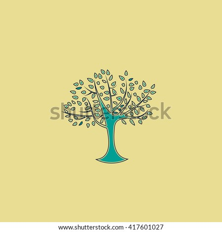 Decorative simple tree. Grren simple flat symbol with black stroke over yellow background - stock photo