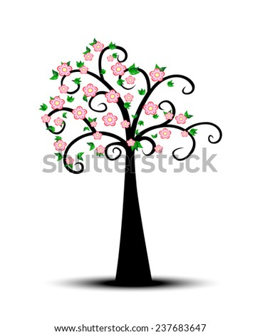 Decorative Spring Tree Silhouette With Green Leaves and pink flower  - stock photo