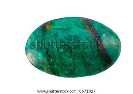 Decorative stone amazonit on a white background - stock photo