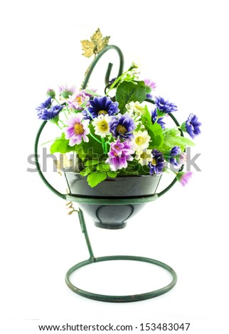 decorative the artificial flowers in pot isolated on white - stock photo