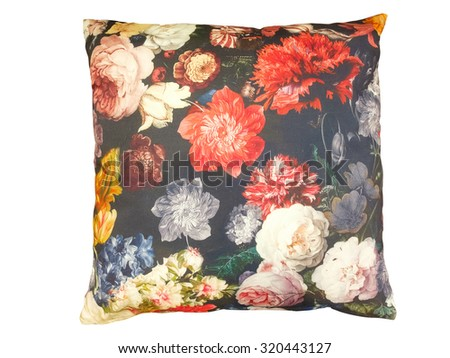 Decorative throw pillow with flower isolated on white background - stock photo